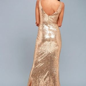 Lulu s Dresses - HERE TO WOW GOLD SEQUIN MAXI DRESS 62273c064